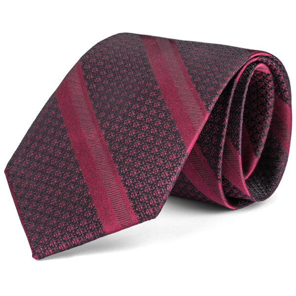 Burgundy Textured Stripe Tie