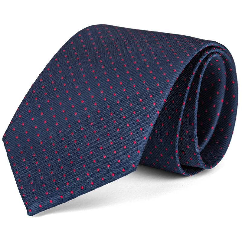 Navy and Red Mini Dot Tie