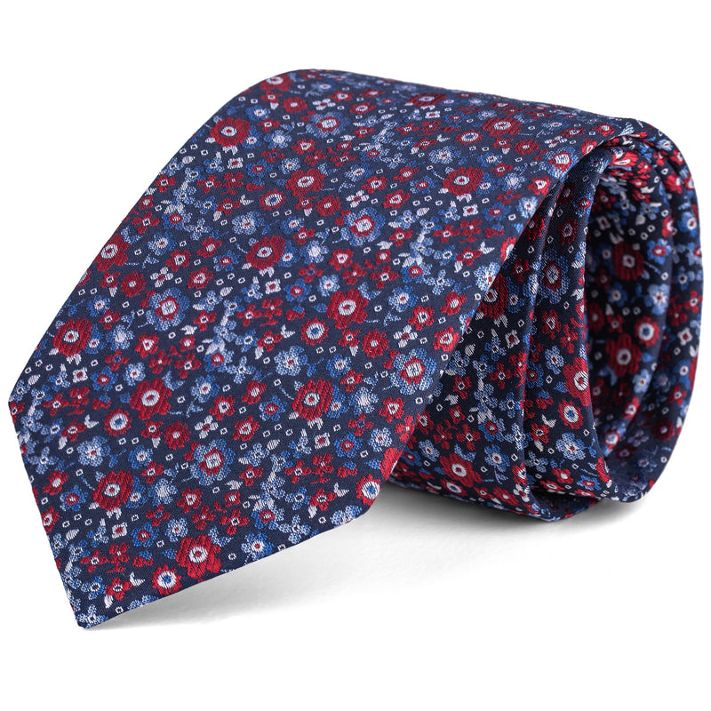 Red and Blue Mini Floral Tie