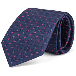 Navy and Pink Tonal Box Tie