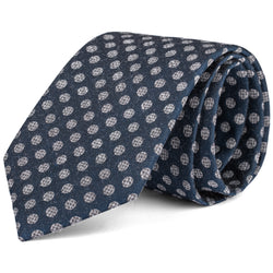 Silver and Navy Dot Print Tie