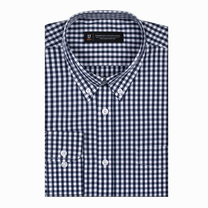 Blue and White Gingham Slim Fit Button-Down Collar Shirt