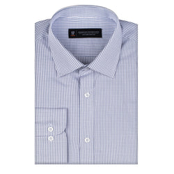 Navy Micro Windowpane Slim Fit Wide Spread Collar Shirt