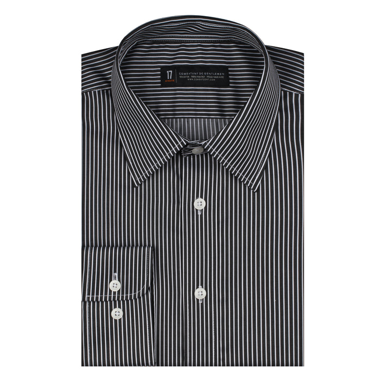 Black and White Thin Stripe  Athletic Fit Wide Spread Collar Shirt