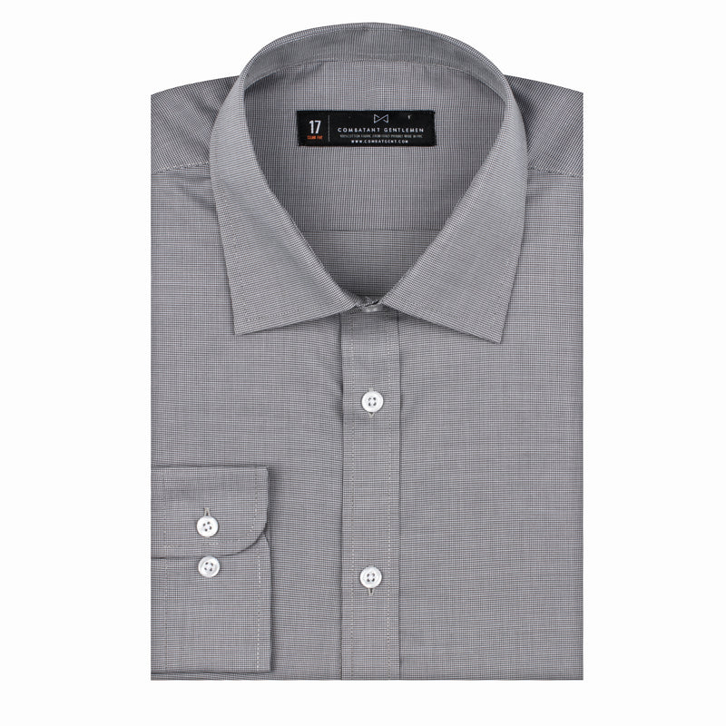 Charcoal Micro Houndstooth Athletic Fit Wide Spread Collar Shirt