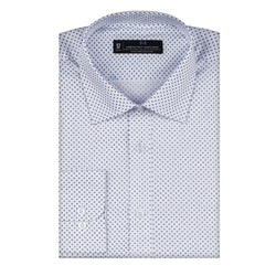 Royal Blue & White Print Slim Fit Wide Spread Collar Shirt