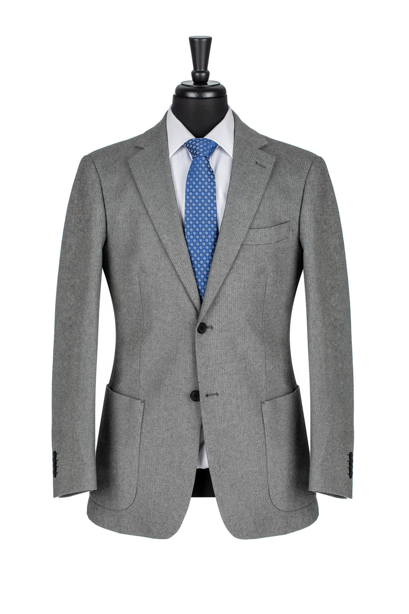 Grey Cotton Herringbone Tailored Fit Travel Jacket