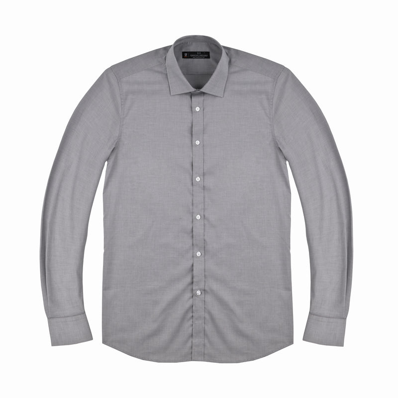 Charcoal Micro Houndstooth Slim Fit Wide Spread Collar Shirt
