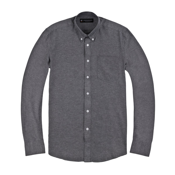 Dark Grey Oxford Slim Fit Button-Down Collar Shirt