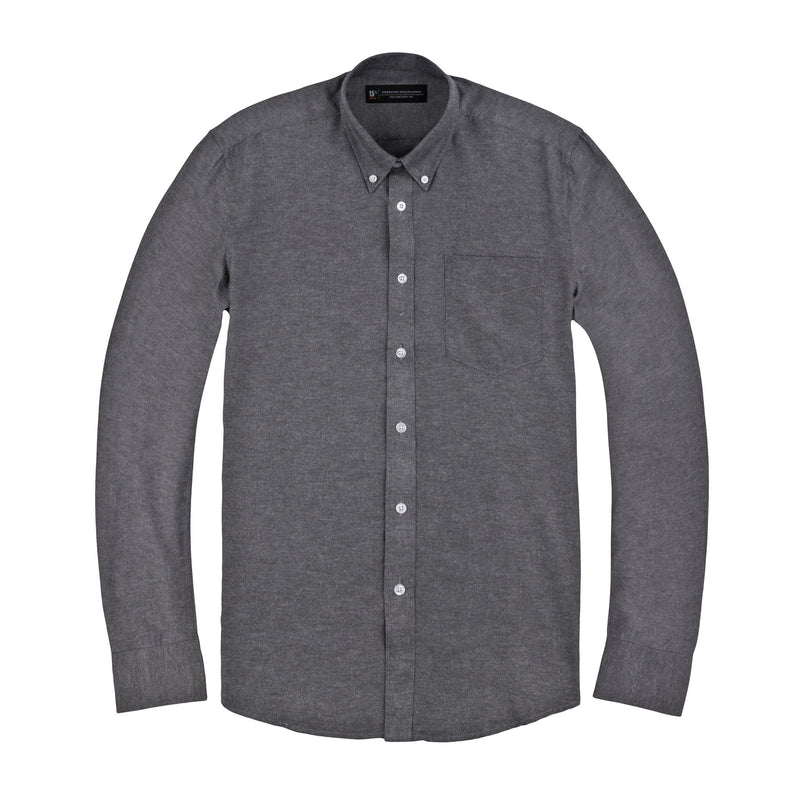 Dark Grey Oxford Slim Fit Wide Spread Collar Shirt