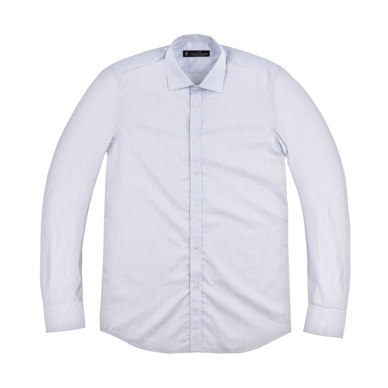Blue Micro Windowpane Athletic Fit Wide Spread Collar Shirt