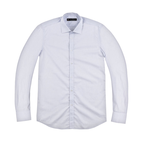 Blue Micro Windowpane Slim Fit Wide Spread Collar Shirt