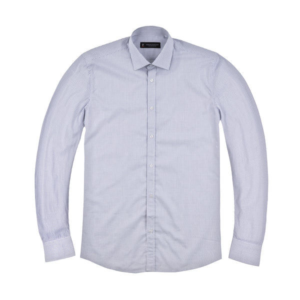 Navy Micro Windowpane Athletic Fit Wide Spread Collar Shirt