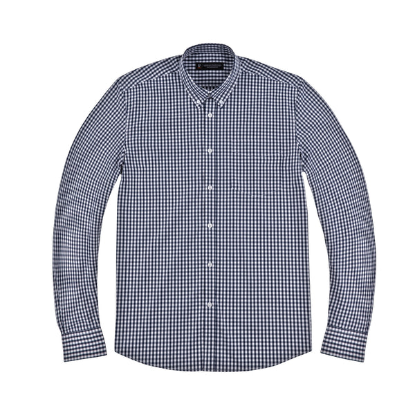 Blue and White Gingham Athletic Fit Button-Down Collar Shirt