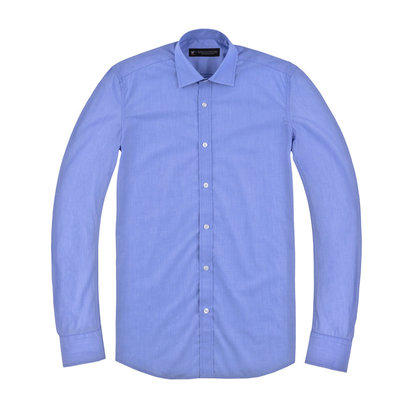 Light Blue Mini Nailhead Stretch Slim Fit Wide Spread Collar Shirt