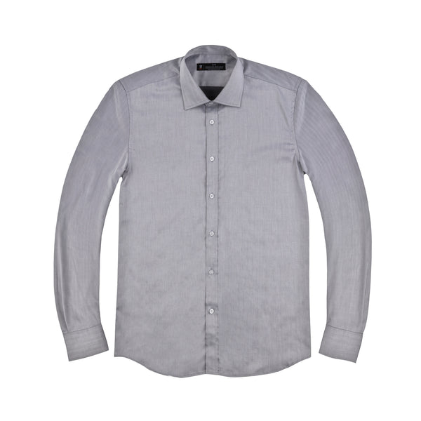 Charcoal Herringbone Slim Fit Wide Spread Collar Shirt