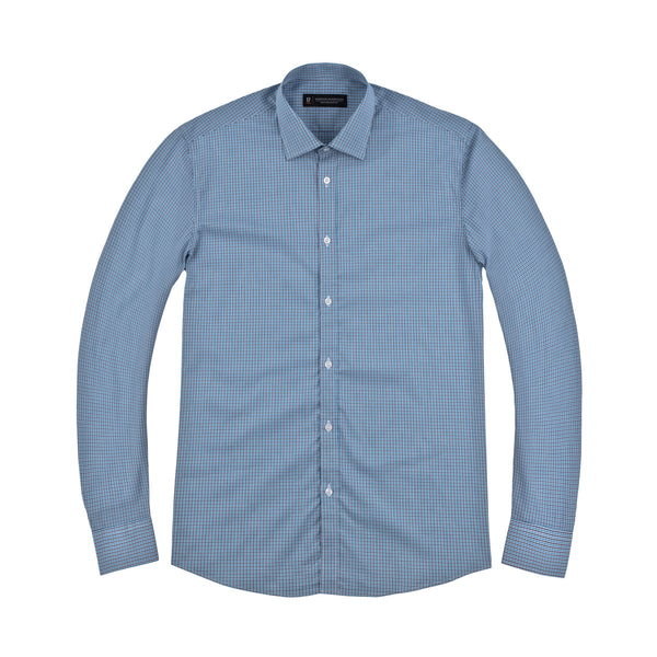 Blue and Navy Tattersall Slim Fit Wide Spread Collar Shirt