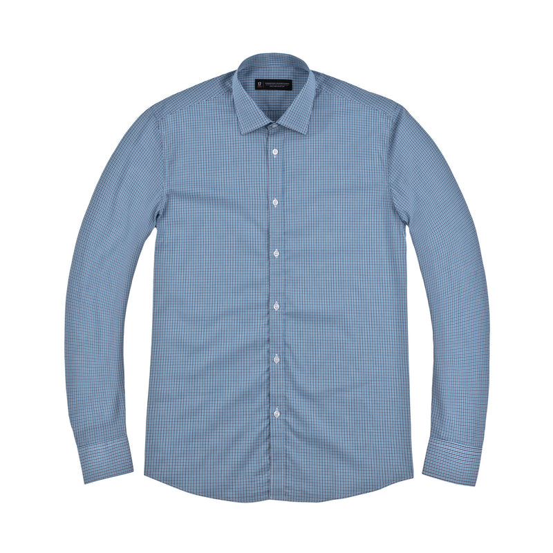Blue and Navy Tattersall Athletic Fit Wide Spread Collar Shirt