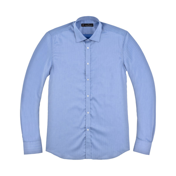 Blue Herringbone Slim Fit Wide Spread Collar Shirt