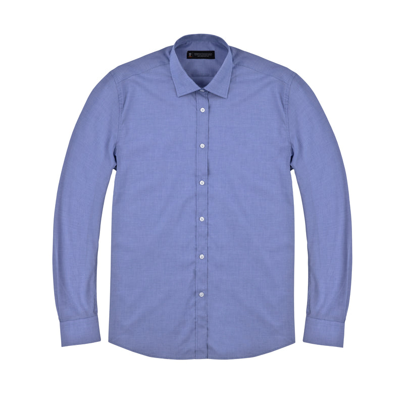 Blue Micro Houndstooth Slim Fit Wide Spread Collar Shirt