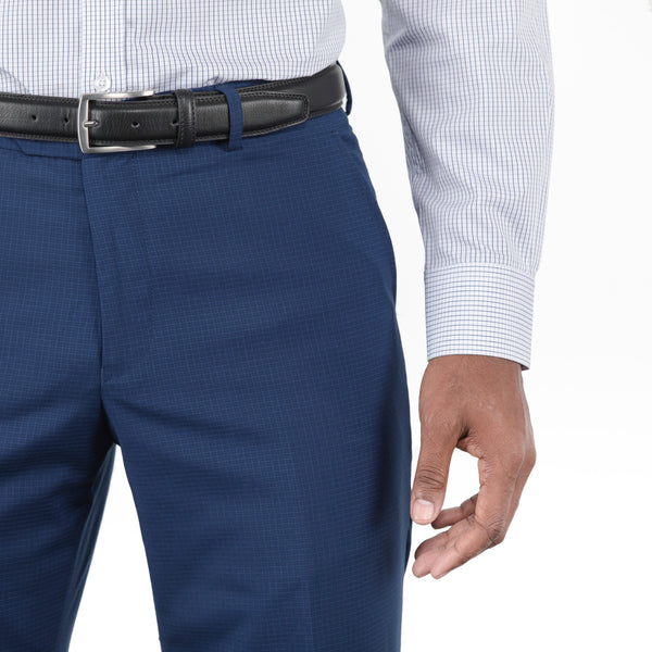 Navy Mini Windowpane Workhorse Pants
