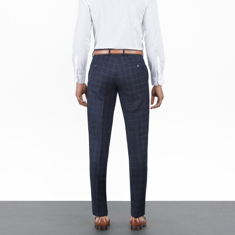 Navy Double Windowpane Workhorse Pants