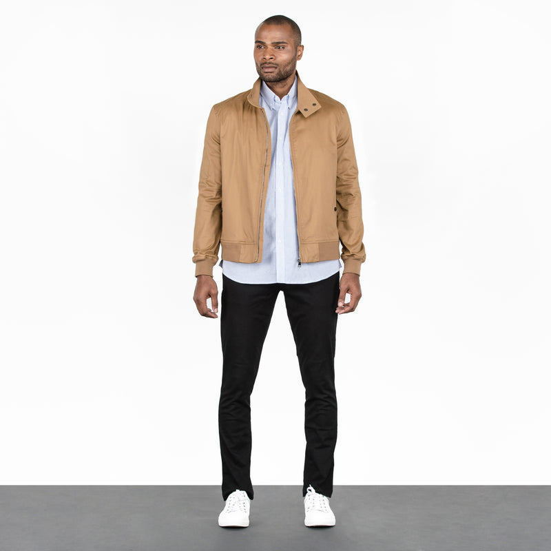 Khaki Stretch Cotton Canvas Bomber