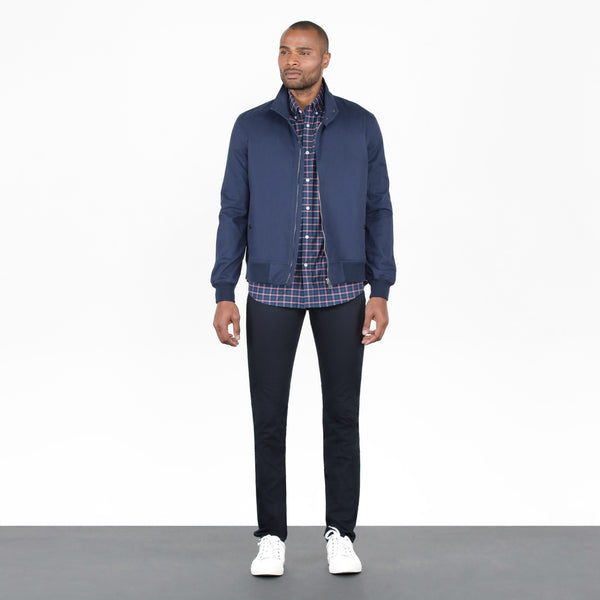 Navy Stretch Cotton Canvas Bomber