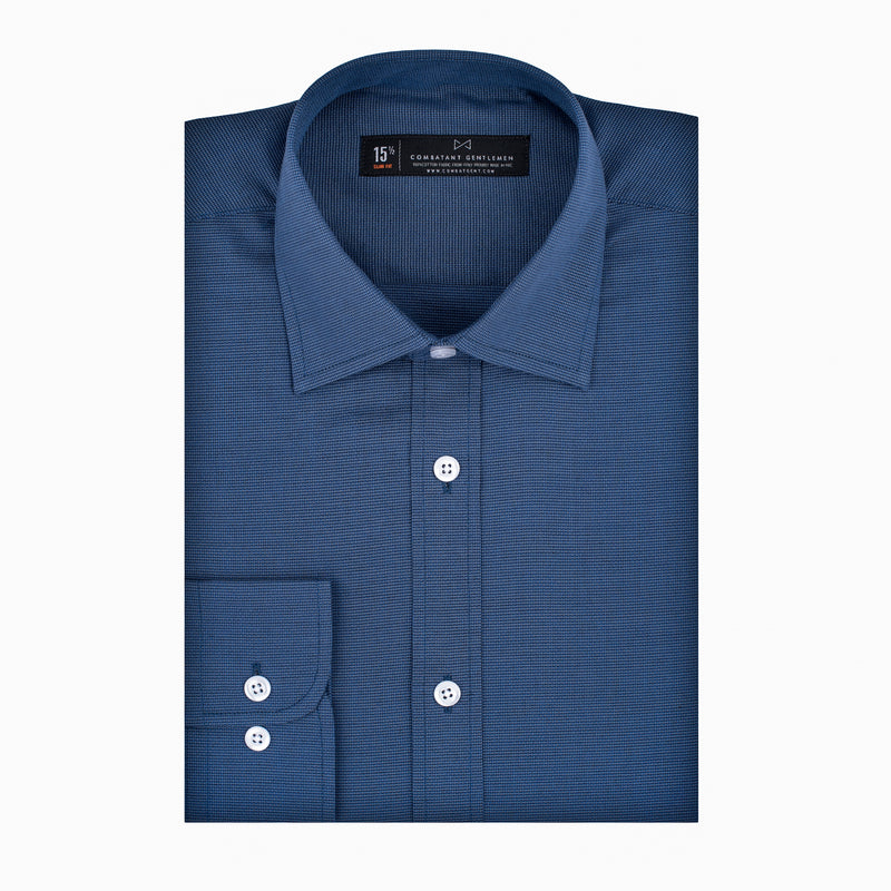 Slate Blue Textured Weave Stretch Athletic Fit Wide Spread Collar Shirt