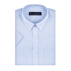 Blue and White Striped Oxford Slim Fit Button-Down Collar Short Sleeve Shirt