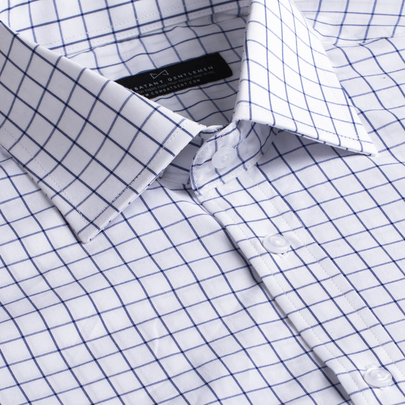 Navy and White Boxed Windowpane Slim Fit Wide Spread Collar Shirt