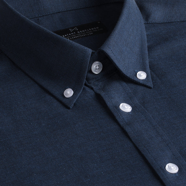 Indigo Nailhead Cotton Linen Blend Slim Fit Button-Down Collar Shirt