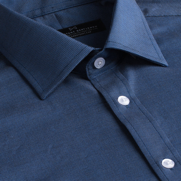 Slate Blue Textured Weave Stretch Slim Fit Wide Spread Collar Shirt