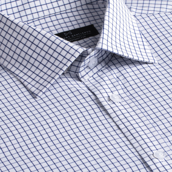 Navy and White Windowpane Slim Fit Wide Spread Collar Shirt