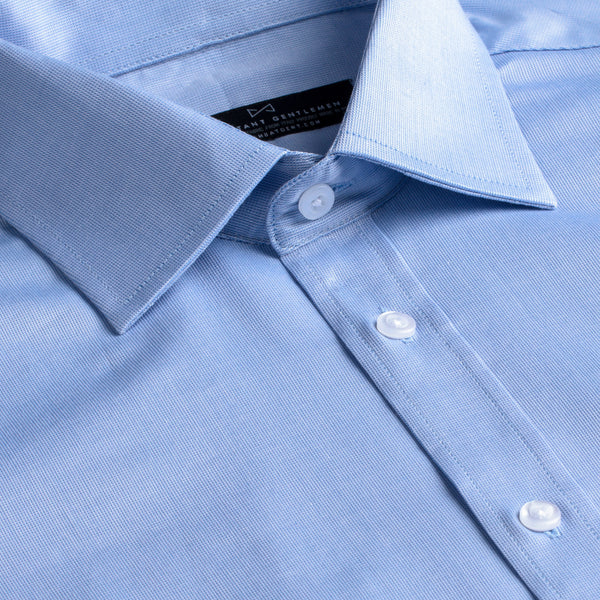 Light Blue Textured Weave Stretch Slim Fit Wide Spread Collar Shirt