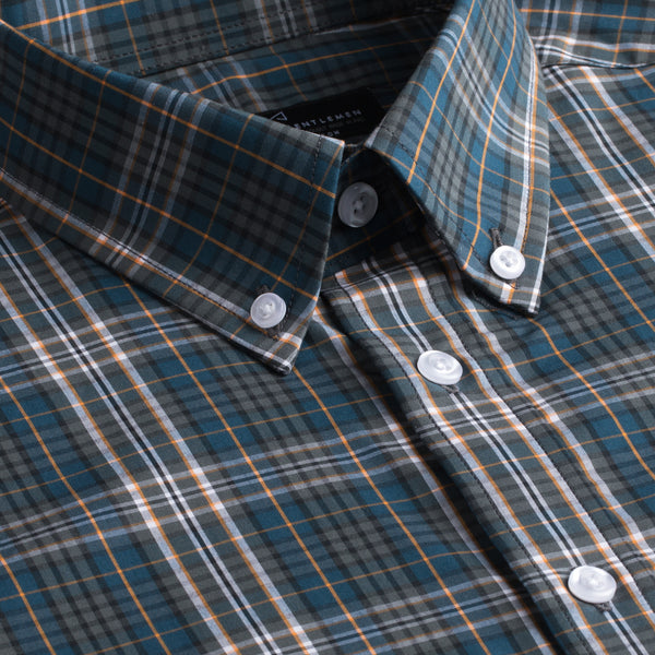 Blue & Green Plaid Slim Fit Button-Down Collar Short Sleeve Casual Shirt
