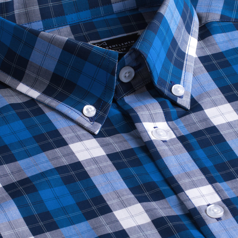 Blue and White Plaid Slim Fit Button-Down Collar Short Sleeve Shirt
