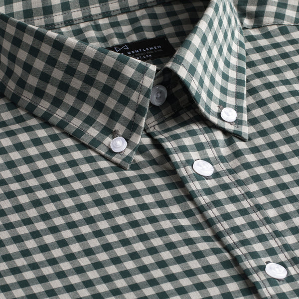 Green and Grey Gingham Slim Fit Button-Down Collar Short Sleeve Shirt