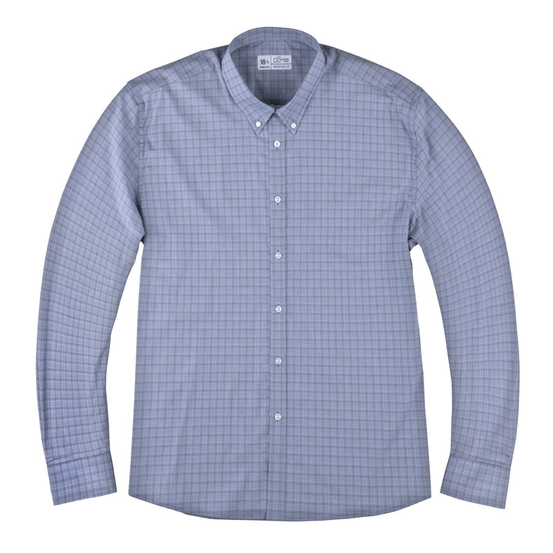 Blue Mini Plaid Stretch Signature Fit Button Down Collar Shirt