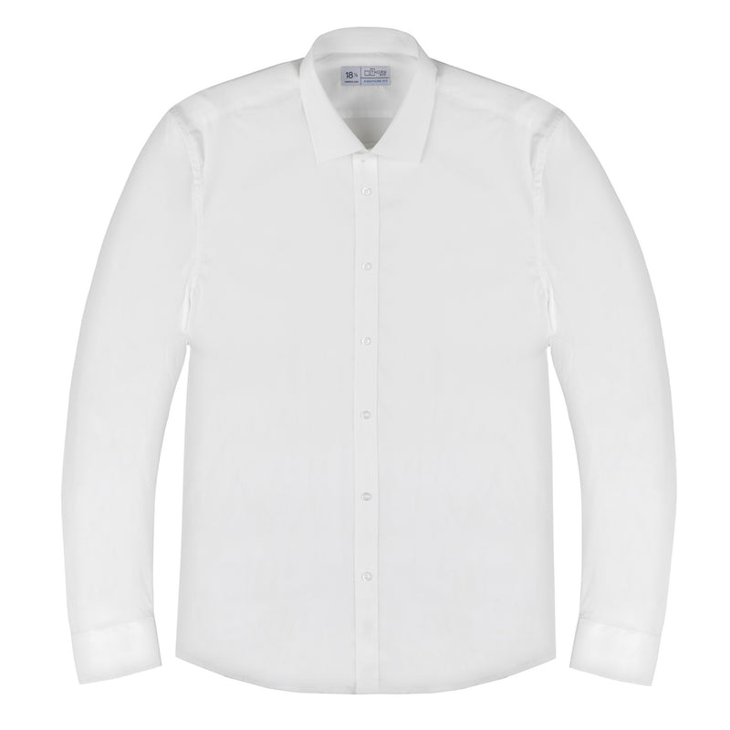 Ivory White Stretch Poplin Signature Fit Semi Spread Collar Shirt