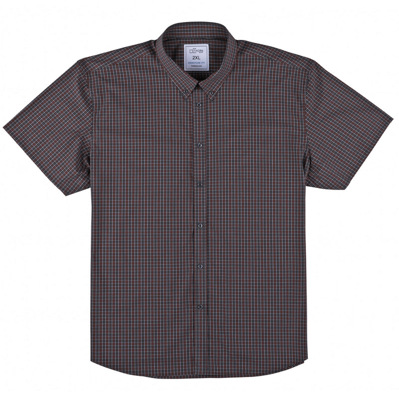 Grey and Red Plaid Signature Fit Button-Down Collar Short Sleeve Shirt