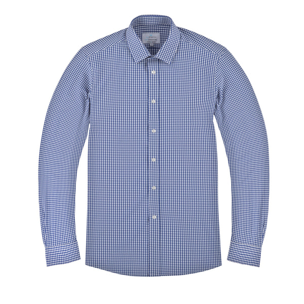 Royal Blue All-Stretch Gingham Slim Fit Semi Spread Collar Shirt