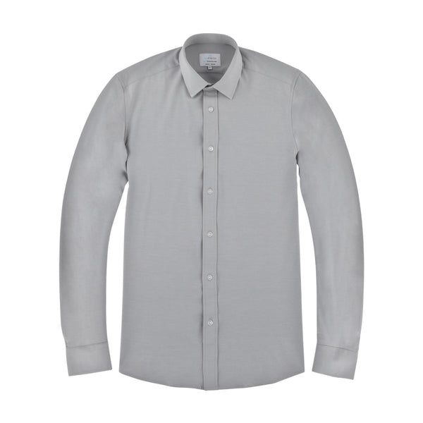 Light Grey All-Stretch Slim Fit Semi Spread Collar Shirt