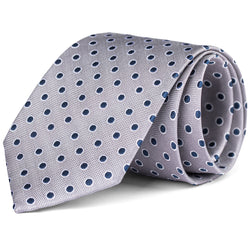 Navy and Silver Polka Dot Tie