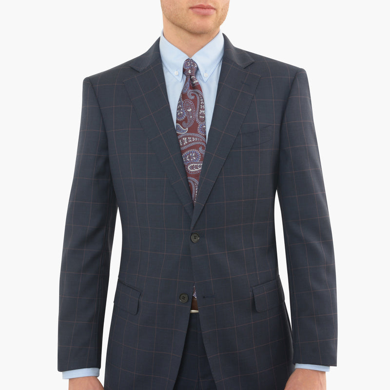 Navy Windowpane Tailored Fit Suit