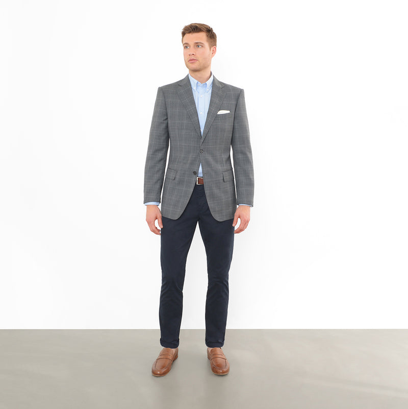 Grey Glen Plaid Tailored Fit Blazer