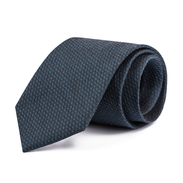 Charcoal and Blue Hopsack Tie