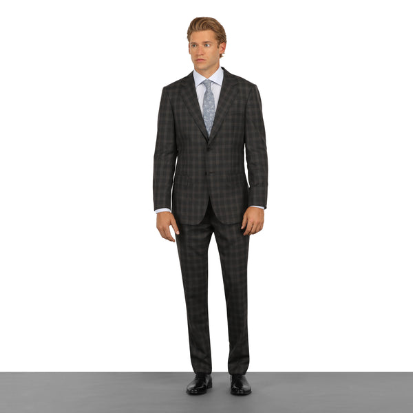 Grey Windowpane Plaid Check Suit