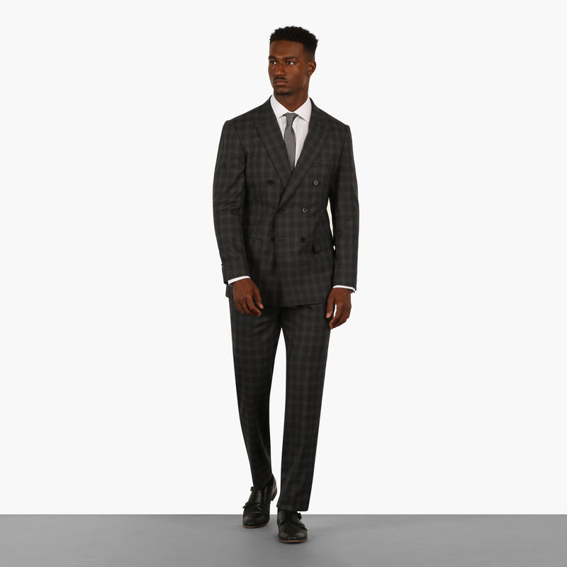 Grey Windowpane Plaid Check Double Breasted Suit