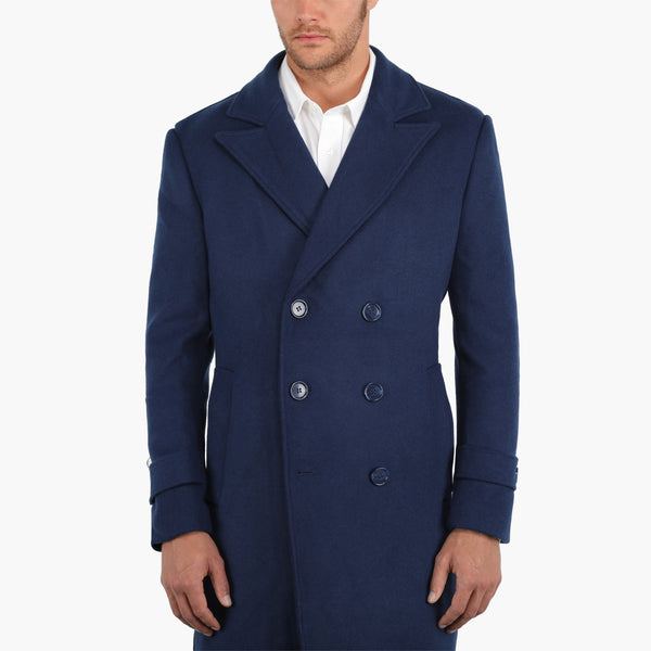 Blue Double-Breasted Overcoat